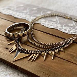Jewelry - Gold Statement Necklace & Bracelet